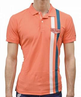 ENGINEERED STRIPE REGULAR FIT HOT CORAL