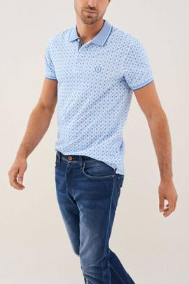 POLO DE MICRO PRINT SLIM FIT AZUL