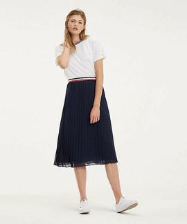 TJW MIDI PLEATED SKIRT BLACK IRIS
