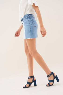 FALDA SHAPE UP CON MEZCLA DE DENIM
