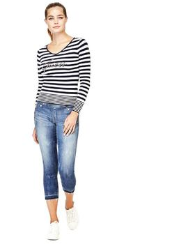 LS VN ESTELLA SWTR WHITE - INK BLUE STRIPES